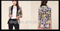 new design fashion printing jacket for office ladies in 2013 summer