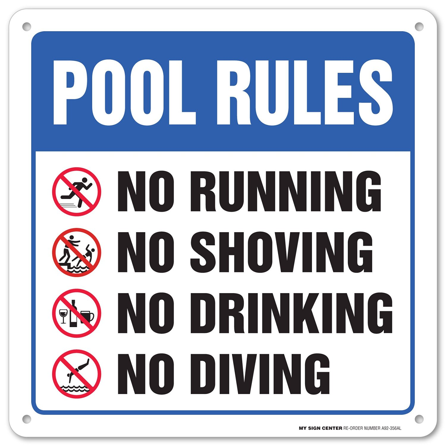 Buy swimming pool safety rules laminated sign 12 x12 040 rust free aluminum made in usa for Swimming pool health and safety rules
