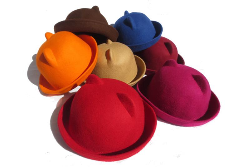 Get Quotations · Girls Children Fedoras Hat Winter Bowler Hat Roll Brim  Dome Top Hat Devil Horns Cat Ear 4557473f8996