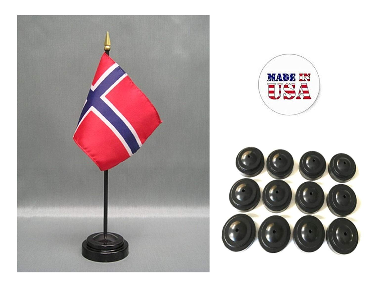 """Made in the USA!! Box of 12 Norway 4""""x6"""" Miniature Desk & Table Flags Includes 12 Flag Stands & 12 Norwegian Small Mini Stick Flags"""