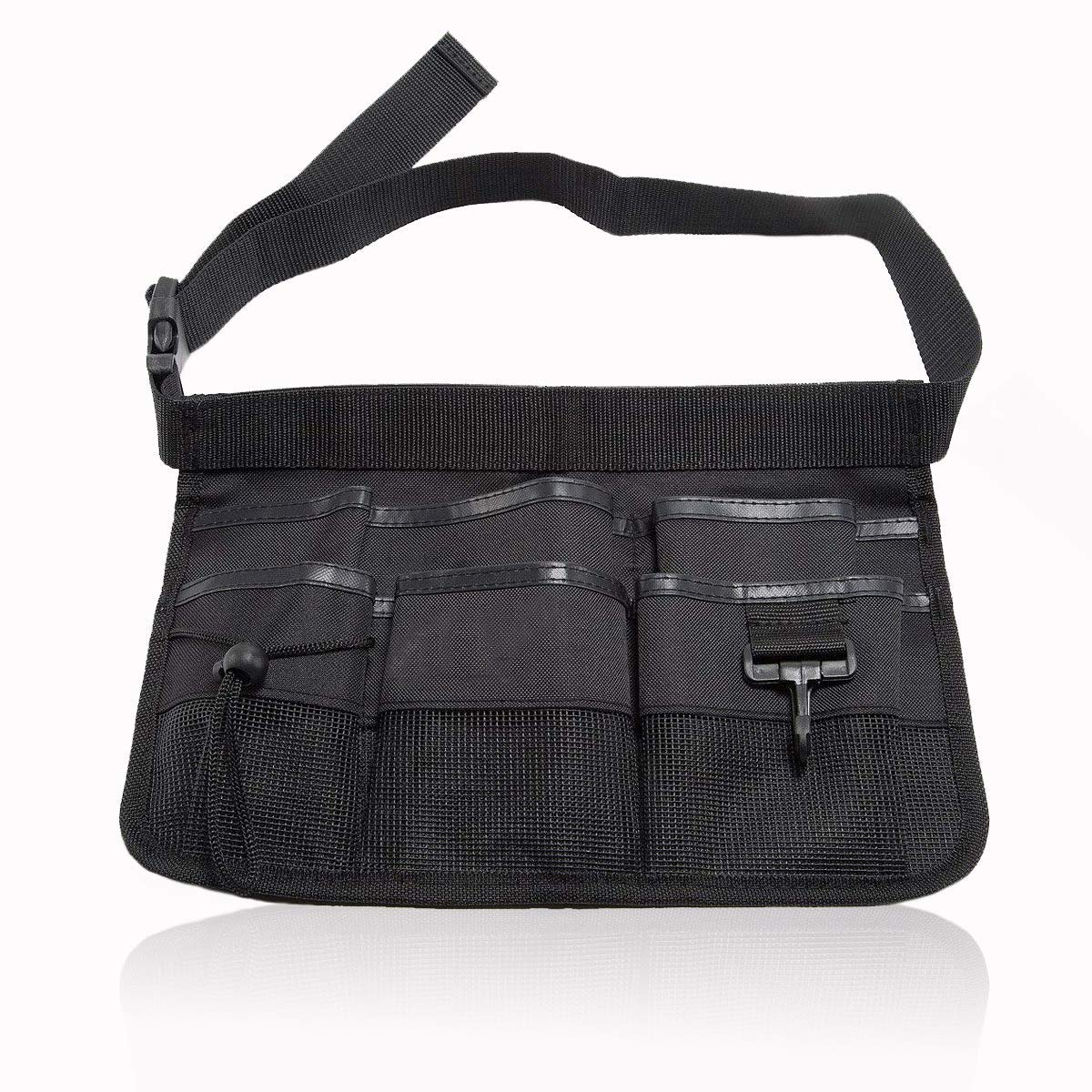 7 Pockets Black Multi-function Tool Waist Bag Belt Heavy Duty Oxford Tool Apron with Adjustable Waist Strap