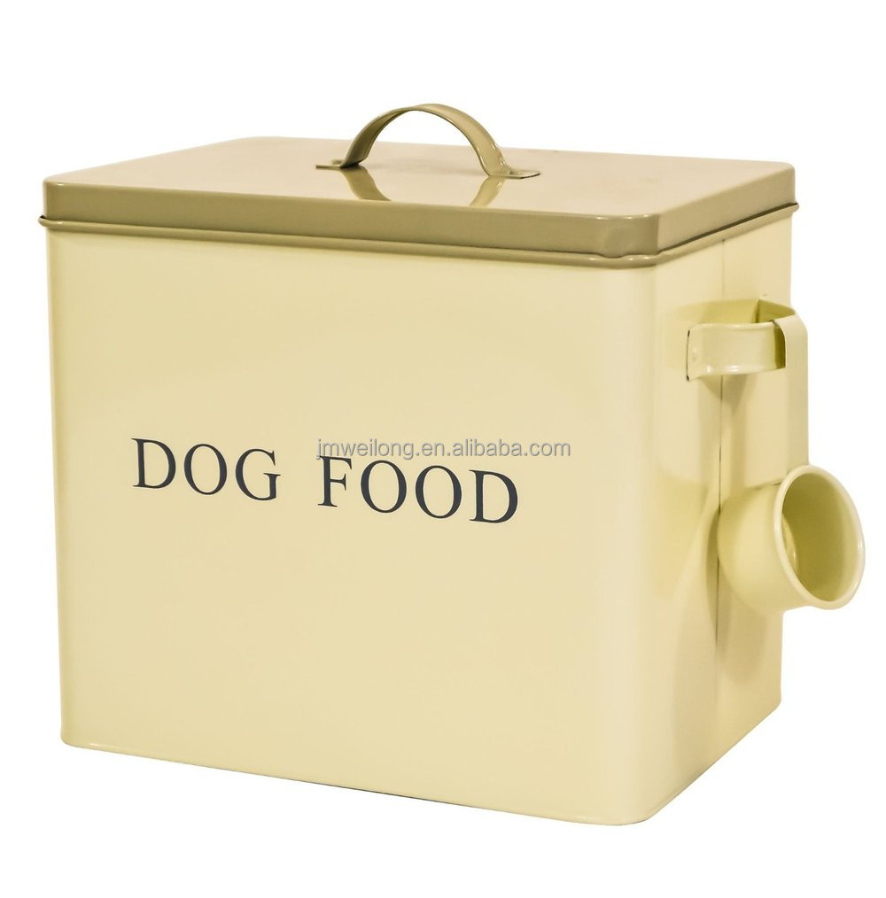Large Enamel Dog Pet Dry Food Storage Box Container Tin W