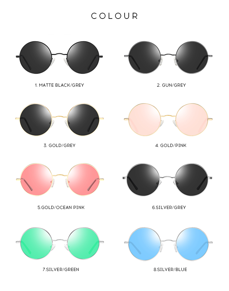custom fashion metal round frame designer sunglasses polarized for men women 2019
