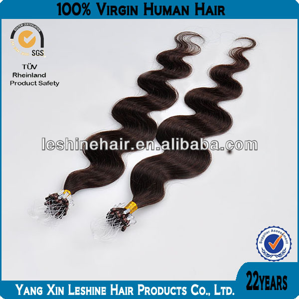 100% natural wholesale Hot Selling 8A,7A Grade loop micro rings hair extensions black