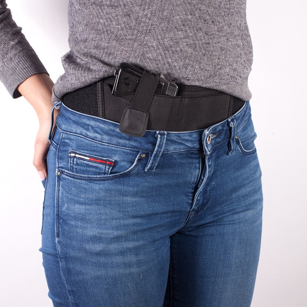 Belly Band Holster For Concealed Carry By Mercor TAC – BONUS Extra Large Pouch For Any Phone - Breathable Design, Unisex & Universal Fit - Fits M&P Shield, Sig Sauer, Beretta, Bersa, Taurus & Other