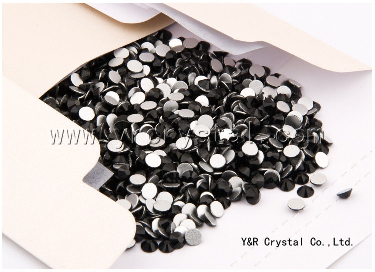 China best quality jet color non hotfix flatback crystal round stone for nail art