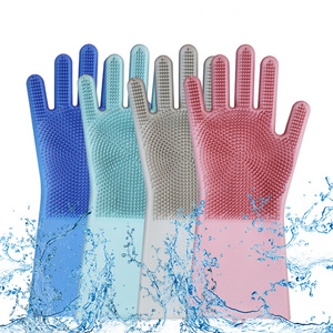Magic Reusable Silicone Dish Washing Sponge Scrubber Gloves Cleaning Glove Heat Resistant Glove