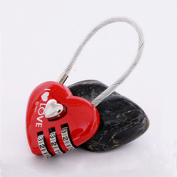 Sweet Lovely Heart Shaped 3 Number Digital Lock with Cable for Storage