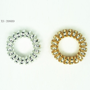Metallic Plastic Telephone Line Hair Ring For Girl Hair Accessories Hair tie