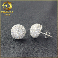 semi joias zirconia micro pave crystal nickel free disco ball earring
