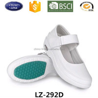 Wholesale white color woman' nurse air cushion sole shoe, soft magic stick work shoes with shock absorption function