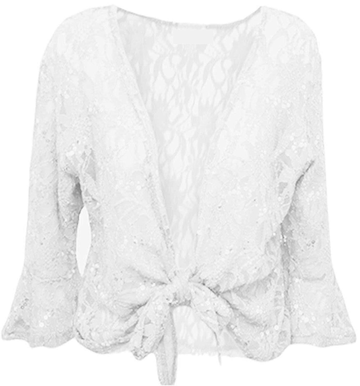 63f091e9c91dd Get Quotations · Cima Mode Womens Plus Size Floral Sequin Lace Bolero  Cropped Shrugs Top Size 10-22