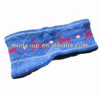 fashion jacquard knitted polar fleece headband