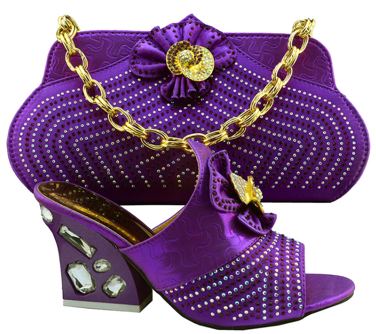Ab8388 3 Italian Shoes And Bag Set Fashion Matching Shoe Bags Party