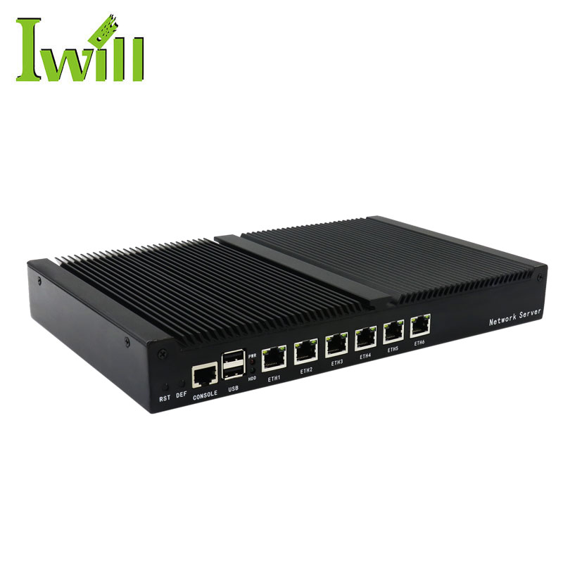 High-speed 6 Lan Port Fanless 1U Desktop Server PC with Intel Celeron 1037U Dual Core
