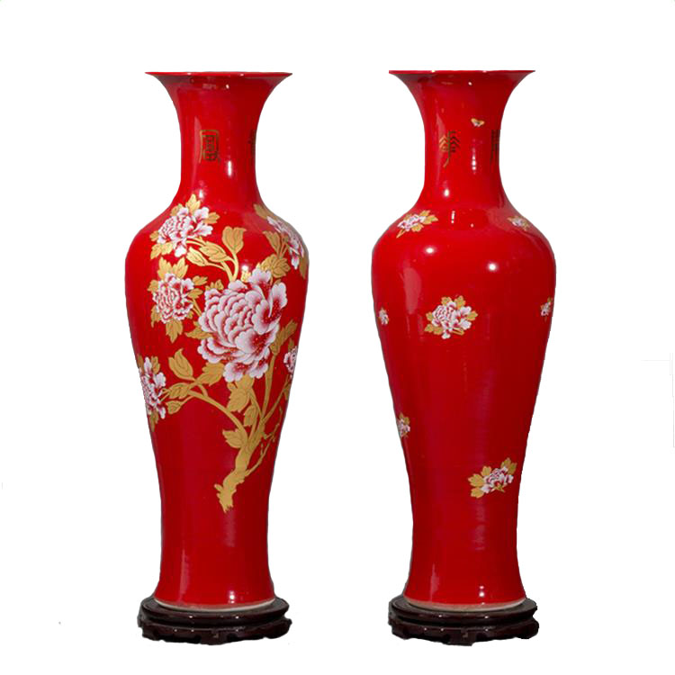 Hotel Red Plating Peony Floor Large Tall Ceramic Vases Buy Tall Wedding Vases Ceramic Large Floor Vase Large Floor Vases Product On Alibaba Com