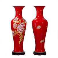 Hotel red plating peony floor large tall ceramic vases