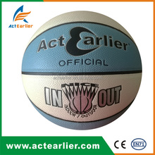 Custom logo official size blue and white color indoor outdoor basketball for schools