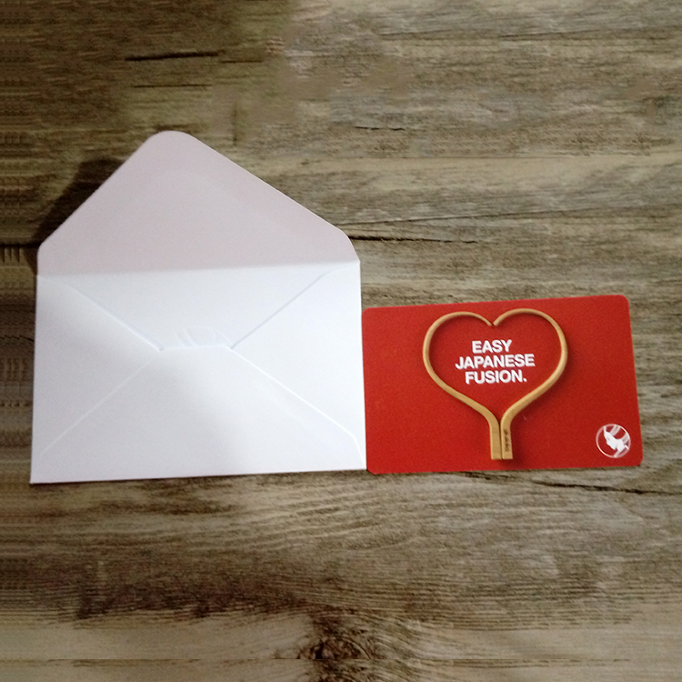 High quality CR80 PVC gift card with printable Envelope