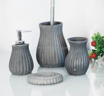 Grey Stone Bathroom Accessories Set Bath Set Tumbler Soap