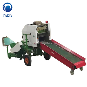 Grass and soybean stalk baling and bundling machine