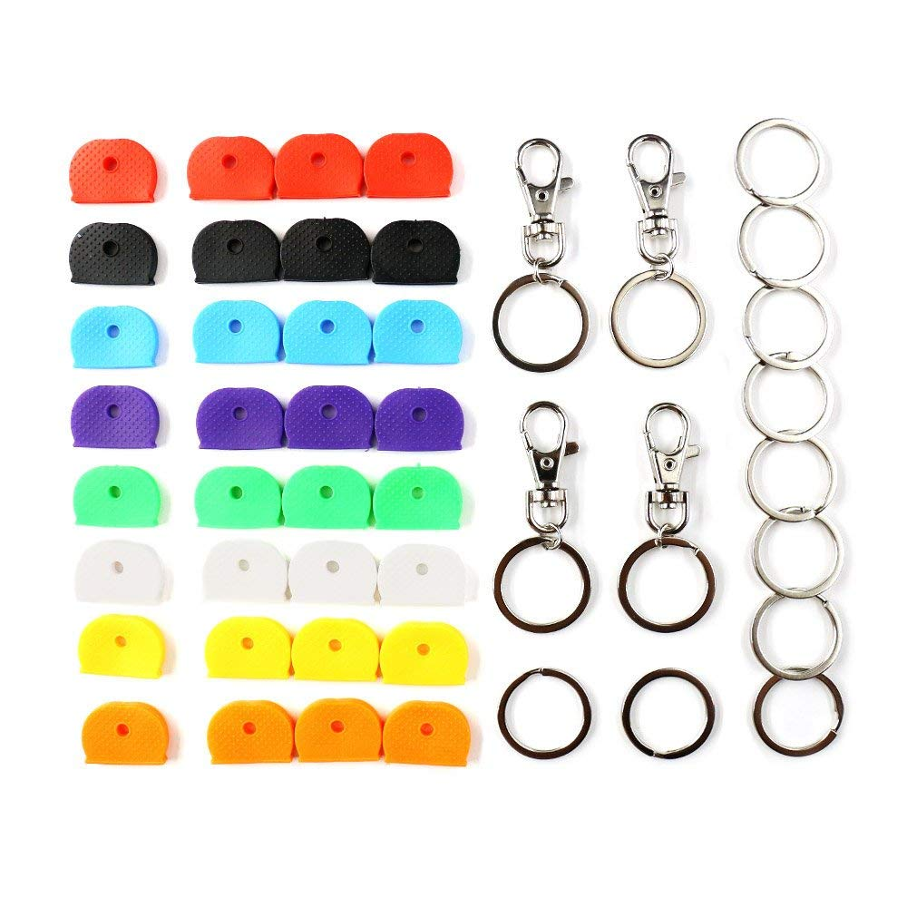 Key Caps Covers, 32 Pcs, Silicone Key Cap Sleeve Rings Key Identifier Rings Label ID, with 10 Pack Key Rings and 4 Lobster Claw Clasps