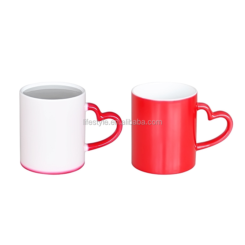 11oz Color Changing Ceramic Mug with Heart Shape Handle