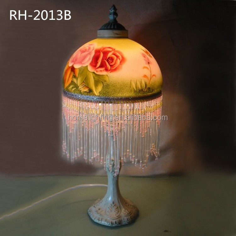 Rh-2013b Antique Table Lamp Roses Gold Trim Light/glass Bead ...
