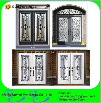 OEM Design Of Wrought Iron Swing Double Door Inserts