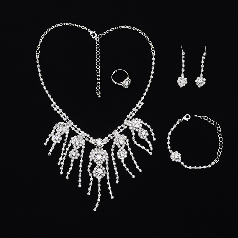 Fashion Ladies Alloy Stud Earrings And Necklaces Austrian Crystal Rhinestone Jewelry set