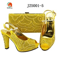 Queency New Arrival African Popular Cheap Italian Shoes And Matching Bags Set For Ladies
