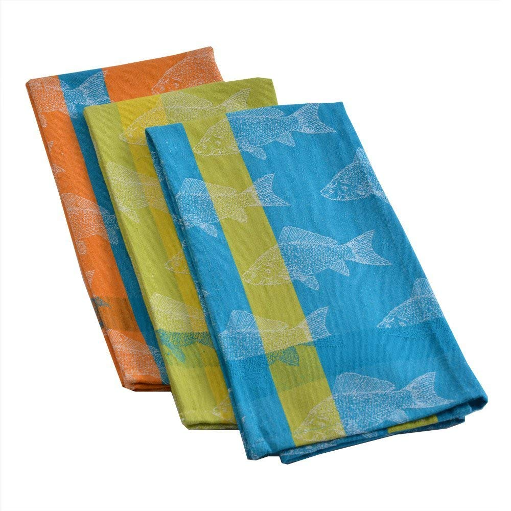 "Mahogany ""Fish"" Jacquard Kitchen Towel, 100Percent Cotton, Set of 3, Each 18-Inch by 28-Inch"