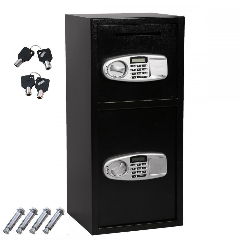 Digital Double Door Safe Security Cash Money Jewelry Gun Book Deposit Drop Slot Lock Box With Electronic Combination Lock And Keys | Drop Safe | Cash Safe | Deposit Safe