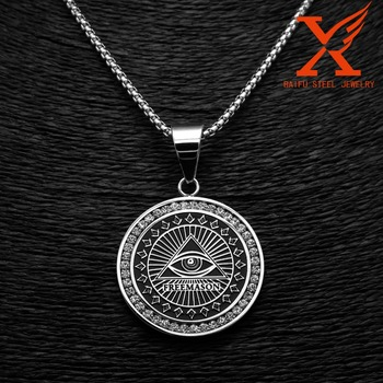 Stainless steel custom made pendant eye masonic medal loaded with stainless steel custom made pendant eye masonic medal loaded with symbols zircon charms and pendant aloadofball Image collections