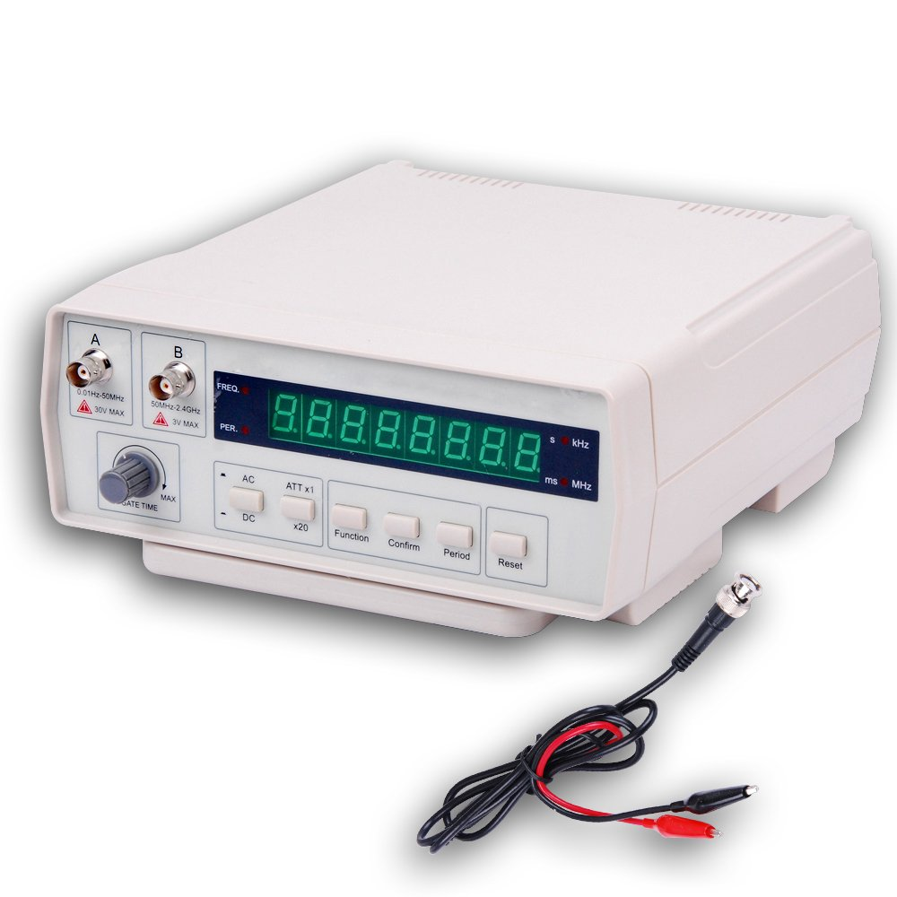 Frequency Counter, RISEPRO Digital Bench Frequency Signal Meter with AC Power Cable BNC Test Leads 10Hz - 2.4 GHz VC3165