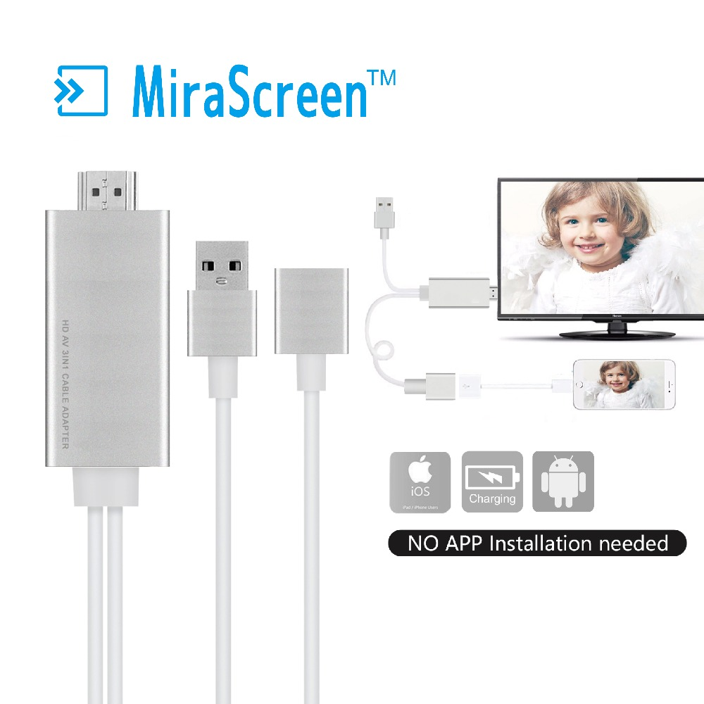 Mirascreen Usb To Hdtv Cable,Wire Dongle Usb Male + Usb Female To Hd ...