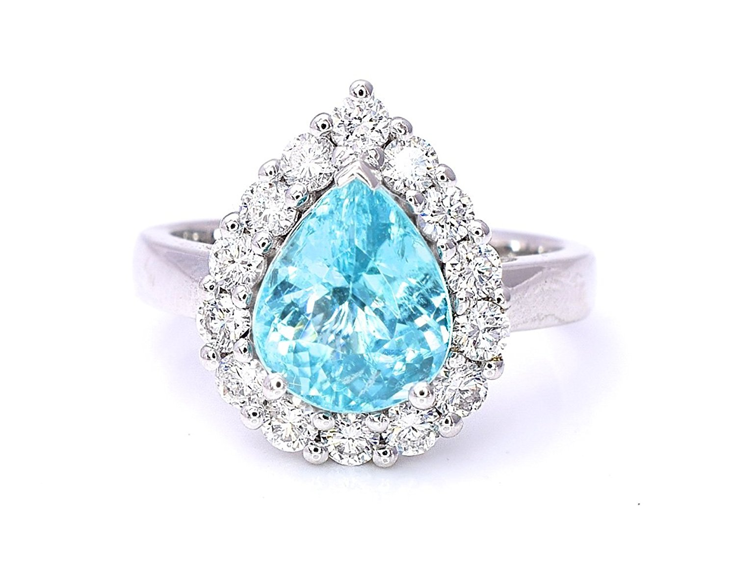 May Design Natural Certified Paraiba Copper Bearing Tourmaline Diamond Halo Ring Neon Blue Green Color, Pear Shape 3.85 cttw (VS-SI/GH) Cocktail Ring 18K White Gold Size 7 1/4