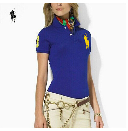 New 2015 women brand Embroidery big horse polo ralp shirt slim short sleeve  camisa solid polo ralph shirt for women plus size