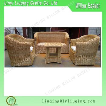 Factory supplies natural handmade wicker garden sofa set for Sofas mimbre exterior