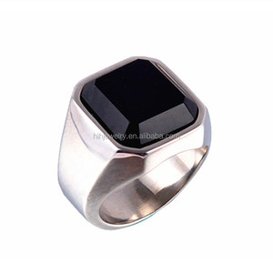 Bulk fashion jewelry china stainless steel square single big black stone finger ring for men