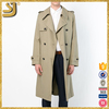 Custom khaki double breasted shoulder board trench coat for men