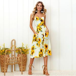 2018 Hot Sell UK Holiday Strap Button Perinted Flora Summer Long Beach Dress For Women's Stock Wholesale Sunflower Dress