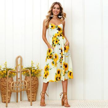 e692d0c9507 2018 Hot Sell UK Holiday Strap Button Perinted Flora Summer Long Beach Dress  For Women s Stock