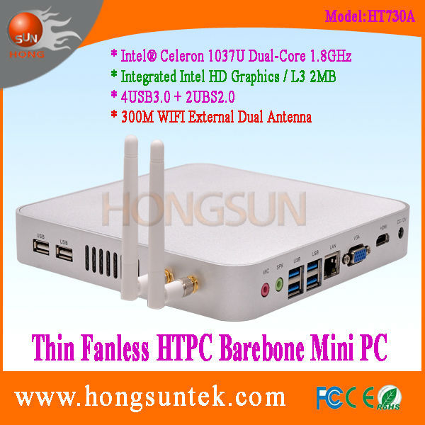 HT730A Intel Celeron 1037U 1.80Ghz Dual Core 2 Threads Processor Fanless Barebone ubuntu mini pc windows xp, USB3.0, WiFi, VGA