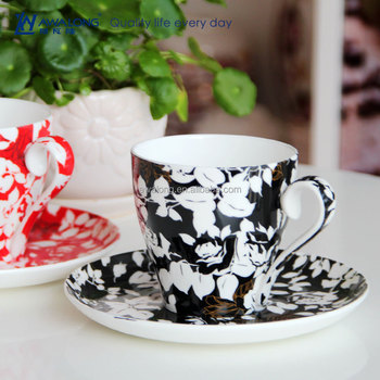 250ml Red And Black Strong Color Fine Bone China Design Your Own