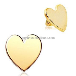 Gold Plated Stainless Steel Internal Thread Heart Skin Diver Tops