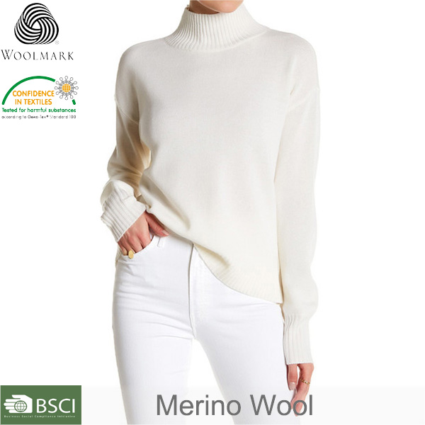 Wool Overs Women's Cashmere & Merino wool Crew Neck Sweater Wool pullover sweater