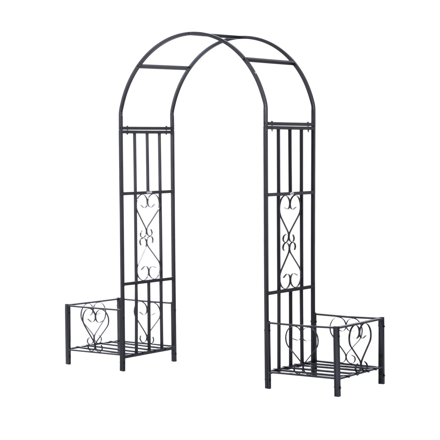 Outsunny Decorative Metal Backyard Garden Arch (Planters)