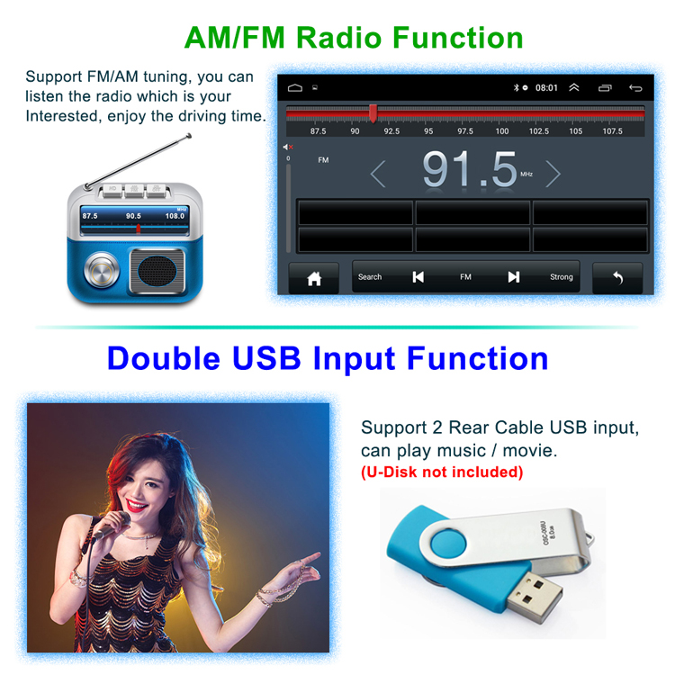 9 Inch Auto Radio GPS Navigasi WIFI Bluetooth MP5 Multimedia Player Mobil 2 DIN Android Audio Stereo