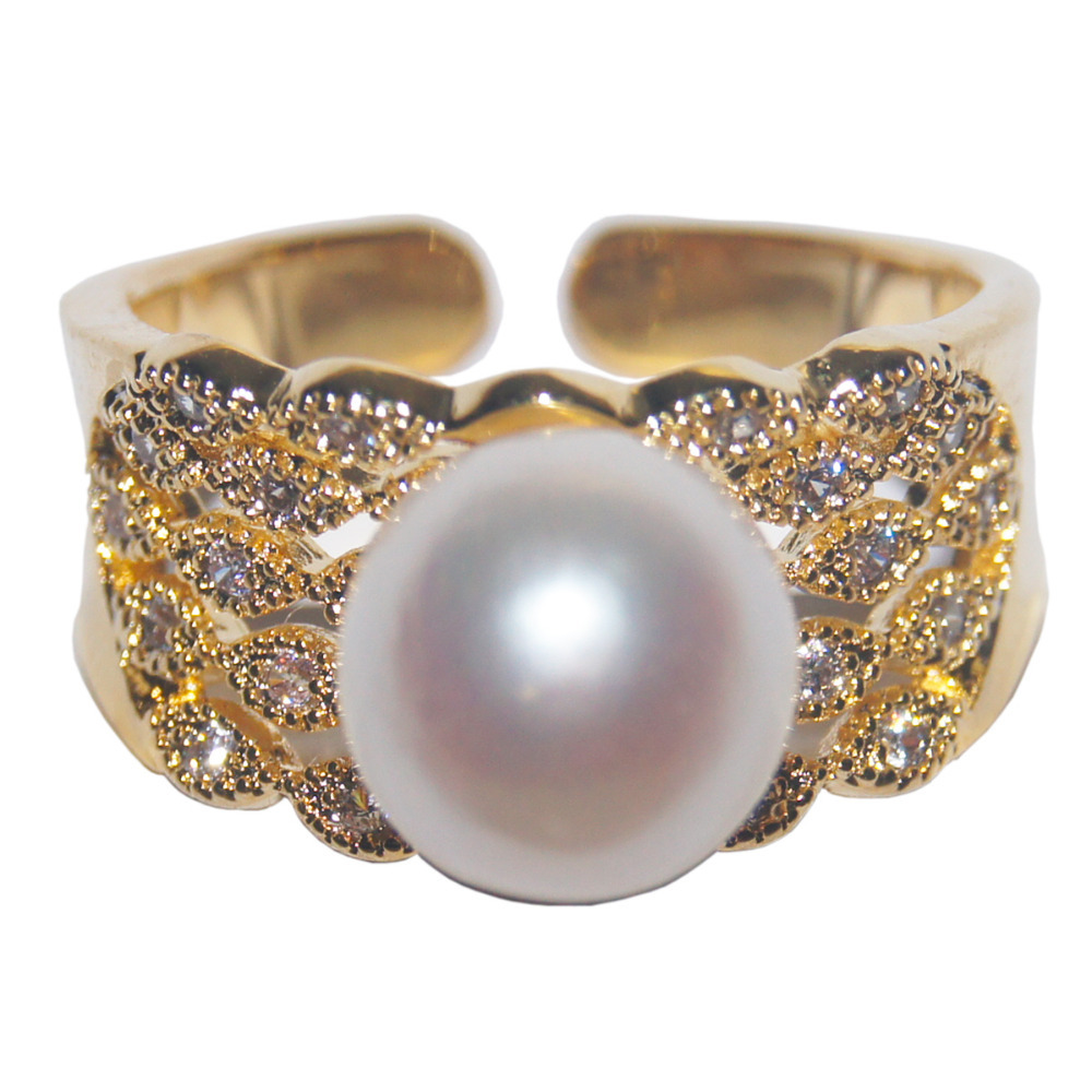 Get Quotations · 100% Solid Silver Ring Natural Freshwater Pearl Mirco  Inlay Zircon Vintage Luxury Wedding Ring Women